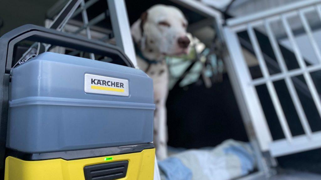 In der campingfreien Zeit nützen wir den OC3 Plus im Auto für unseren Dalmatiner - immer sauber Pfoten!